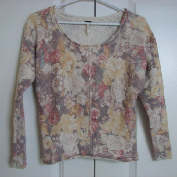 Free People Muted Floral Rolled Hemline Sweater